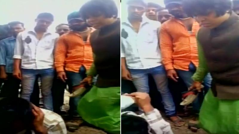 Trupti Desai hit the man with her slippers. (Photo: ANI videograb)