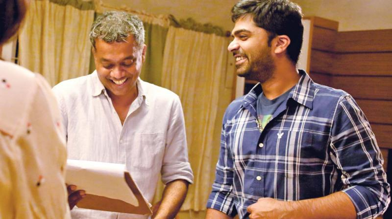 Gautham and Simbu during the shoot of AYM.
