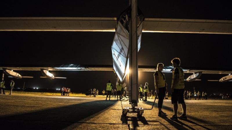 The aircraft had arrived in Cairo on Wednesday after a two-day flight from Spain, finishing the 3,745 kilometre (2,327 mile) journey with an average speed of 76.7 kilometres an hour.
