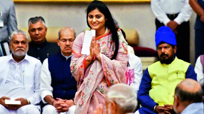 Apna Dal leader Anupriya Patel before being sworn-in as Minister of State at a ceremony at Rashtrapati Bhavan in New Delhi in 2014. (Photo: PTI)