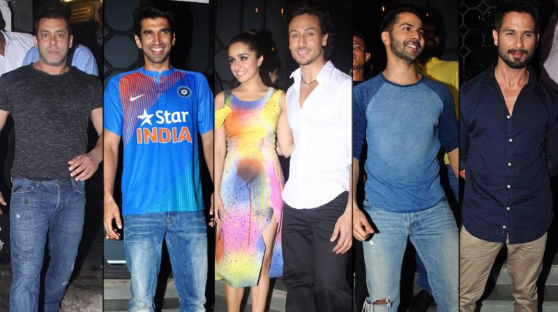 Tiger Shroff and Shraddha Kapoor celebrated the success of their film 'Baaghi' in style. The duo held a grand bash at a swanky restaurant in the city and called on some of the biggest names in the industry to join them celebrate. Photo: Viral Bhayani