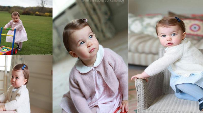 The new photographs show Charlotte wearing a blue collared dress with matching tights and white cardigan and a similar outfit in pink.  (Photo: Twitter)