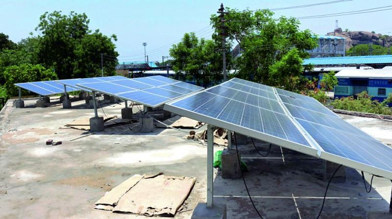 Solar panels installed on the roof of the DSTE office at  Kazipet railway station. (Photo: DC)