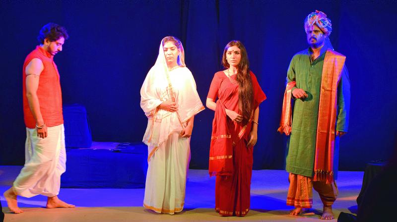 A shot of the play Karna that was staged in Hyderabad on Saturday.