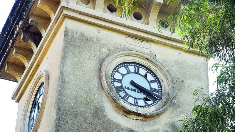 The iconic clock of the Government Boys High School at Sultan Bazaar
