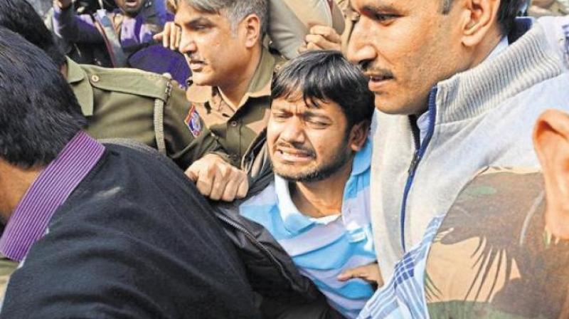 Image result for JNUSU president Kanhaiya Kumar from being assaulted