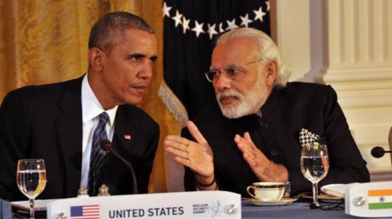 Prime Minister Narendra Modi with US President Barack Obama in Washington.