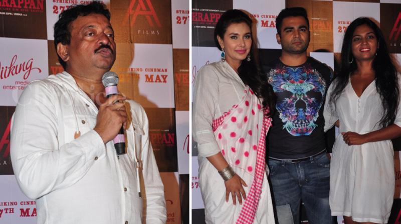 Ram Gopal Varma launched the trailer of 'Veerappan' in the presence of entire star cast- Sandeep Bharwaj, Lisa Ray and Usha Jadhav. Photo: Viral Bhayani