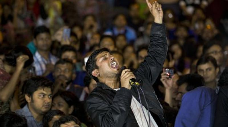 29-year-old Kumar's 66-minute speech laced with wit and sarcasm last night on his return to JNU campus after he walked free from jail. (Photo: PTI)
