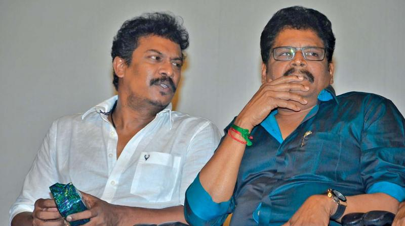 Directors Samuthirakani and K.S. Ravikumar at Chandikuthirai  audio launch.