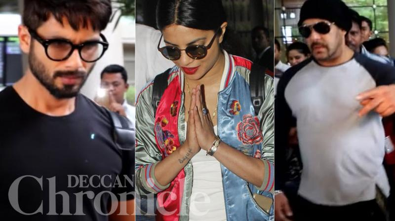 Bollywood stars Shahid Kapoor, Priyanka Chopra and Salman Khan returned home on Monday after spending a glitzy weekend in Spain. Photo: Viral Bhayani