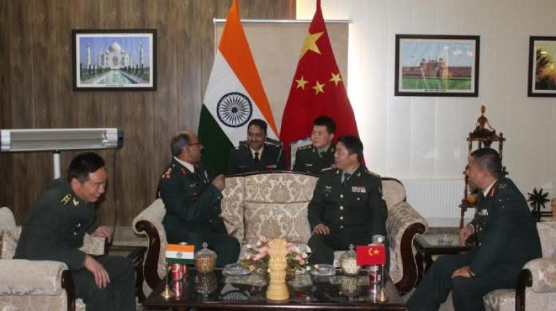 "The officers from the two armies held ceremonial border personal meetings (BPMs) on the occasion of ""Harvest Festival'' at Indian BPM hut in Chushul and  another one at Indian meeting point hut at Daulat Beg Oldi. (Photo: DC)"