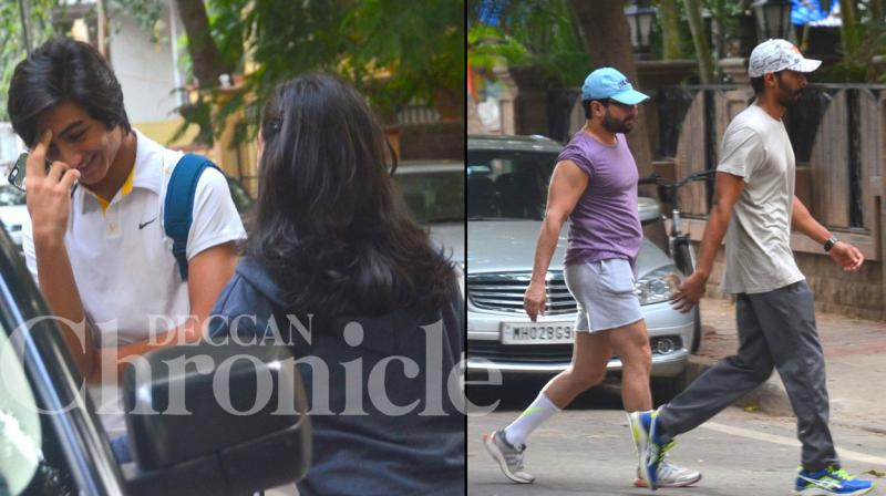 Saif Ali Khan squeezed in a little family time in his schedule on Wednesday, after his children Ibrahim and Sara dropped by to visit him at his residence. Photo: Viral Bhayani
