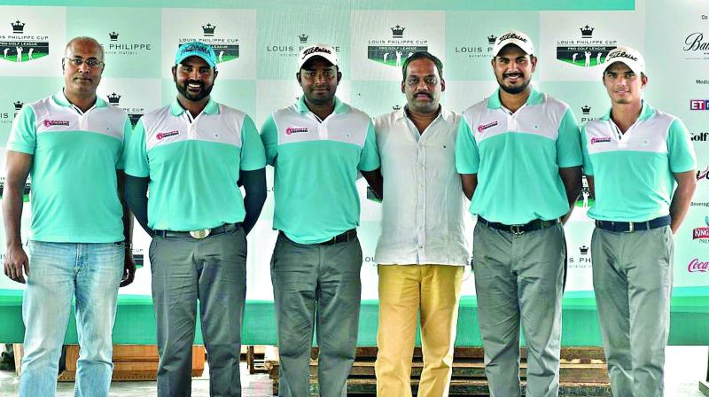 Members of the NSports Hyderabad team are jubilant after punching their way from the seventh position to a joint second on Friday, the second day of the Louis Philippe Golf tournament being played in Bengaluru.(Photo: DC)