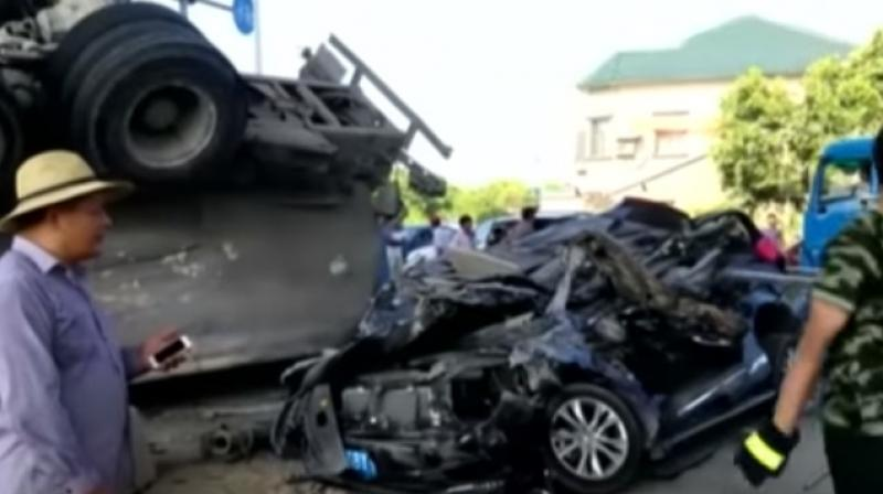 The accident was recorded in Ningbo city of South China
