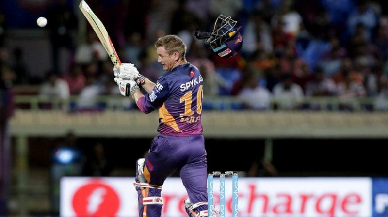 """Australia's George Bailey was struck by a bouncer in the Indian Premier League that sent his helmet flying, an experience he said was like """"getting hit in the face by a truck"""". (Photo: BCCI)"""