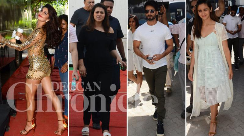 It was a busy day at the studios for actors Jacqueline Fernandez, Kajol, Shahid Kapoor and his Udta Punjab co-star Alia Bhatt.