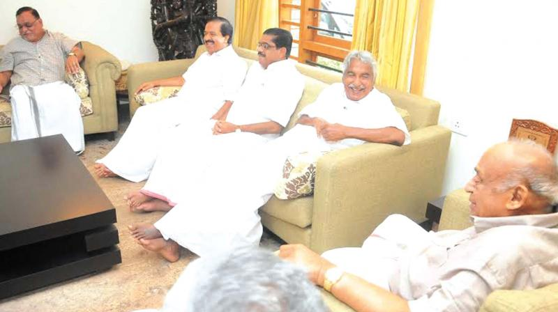 Chief Minister Oommen Chandy, JD (U) leader M.P. Veerendrakumar, KPCC president V.M. Sudheeran and Home Minister Ramesh Chennithala during the meeting held at the house of Veerendrakumar at Mooryad, Kozhikode on Friday. (Photo: DC)