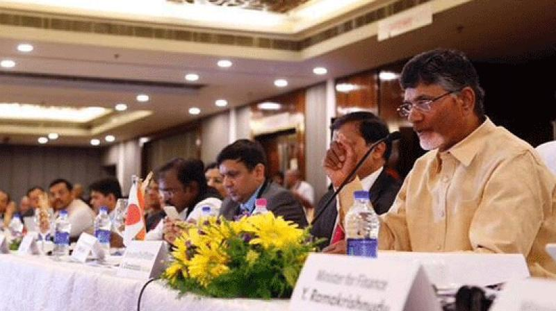 Chief Minister Chandrababu Naidu addressing Andhra Pradesh-Japan Public-Private joint conference. (Photo: Twitter)