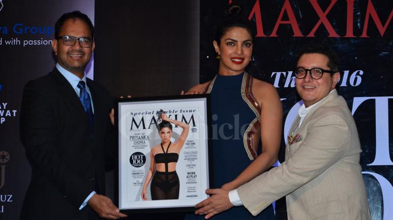 Priyanka Chopra won the title of the hottest woman of the decade and the only woman to top the Maxim Hot 100 list three times. The actress unveiled the cover of the latest Maxim issue last evening. Photo: Viral Bhayani