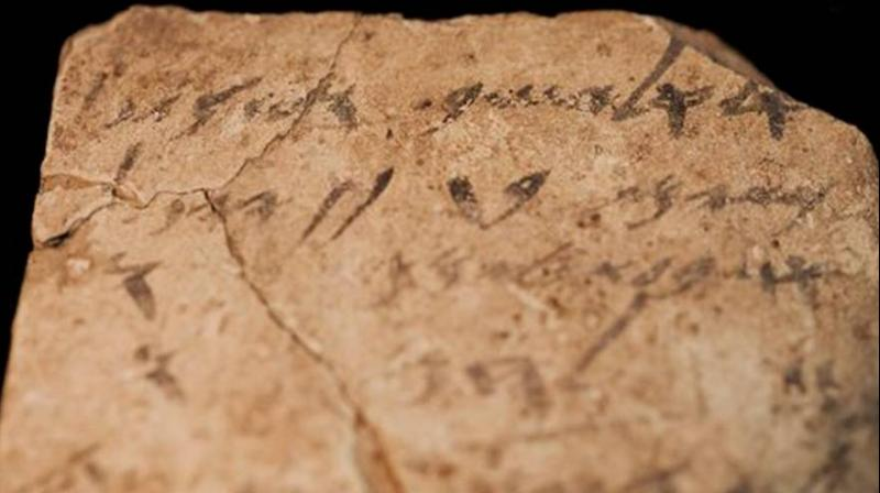Letters inscribed on pottery, known as ostracons, which were unearthed in an excavation of a fort in Arad, Israel, and dated to about 600 B.C. are seen in Israel Museum in Jerusalem Tuesday, April 12, 2016. (Photo: AP)