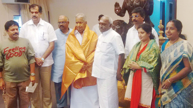 Veteran film director Visu joins BJP on Saturday in the presence of Union minister Pon Radhakrishnan at party office in T Nagar. (Photo: DC)