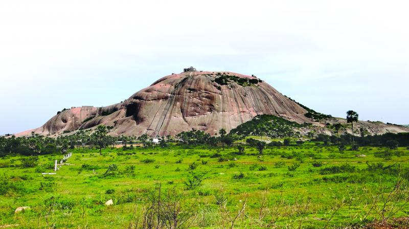 Bhongir Fort on top of the hill was built