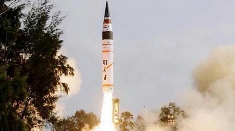India's nuclear-capable intermediate range Agni-I ballistic missile