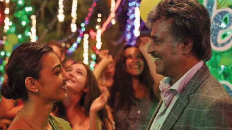 check out new stills from rajinikanth radhika apte s kabali