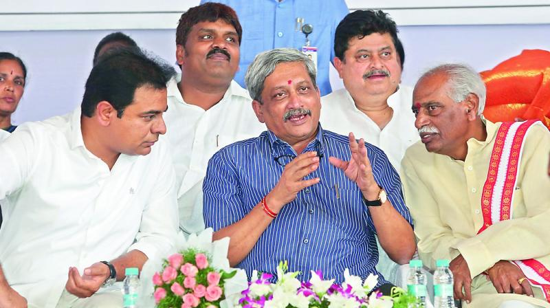 Union defence minister Manohar Parrikar along with TS minister K.T. Rama Rao and Union minister Bandaru Dattatreya at the inauguration of the Bolaram hospital.