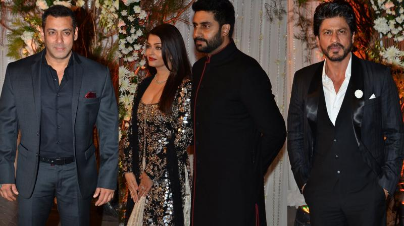 Bollywood A-listers Salman Khan, Aishwarya Rai Bachchan, her hubby Abhishek Bachchan and Shah Rukh Khan graced the wedding reception of Bipasha Basu and Karan Singh Grover, held last evening. Photo: Viral Bhayani