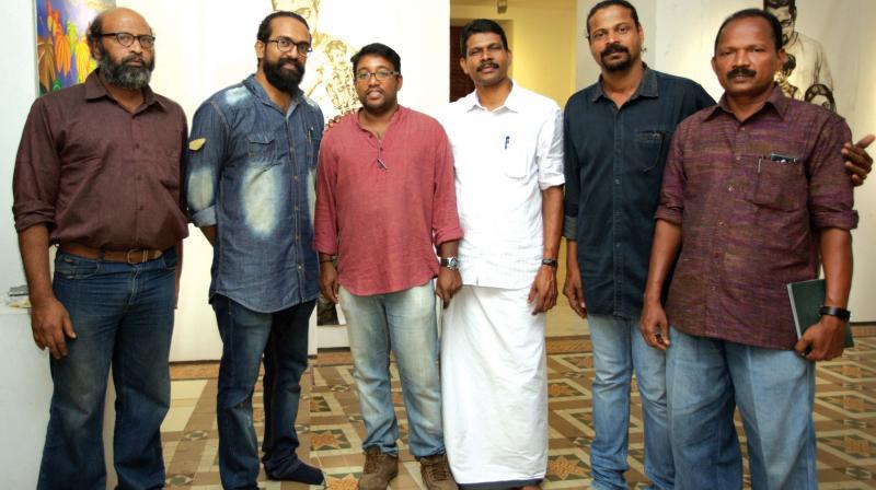 From left: artists John Davy, Unnikrishnan T.T., Renjeethlal, Manoj Narayanan, Varghese Kalathil, Kumaran K.R.