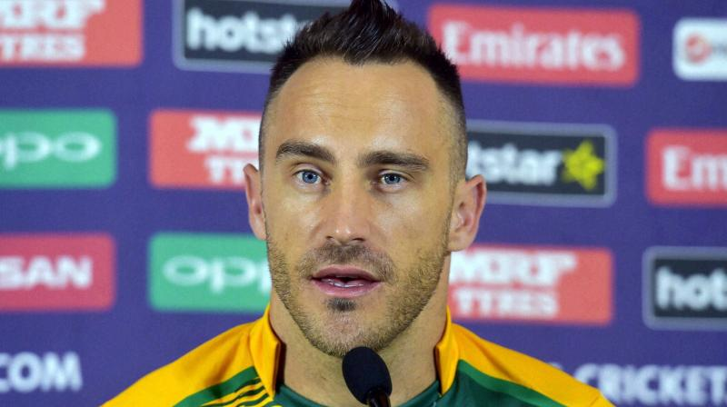 If South Africa skipper Faf du Plessis is found guilty of a further breach of Article 2.1.5 within 12 months from the first offence last October, it will amount to his third offence and, as such, he will be suspended. (Photo: PTI)