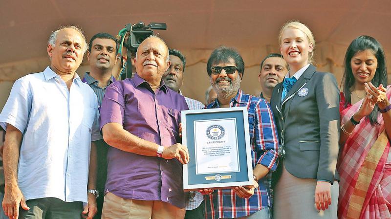 (From left to right) R. D. Lakshminarayanasamy,  R. Vijayakumhar, Vivek Ramakrishna and Sofia Greenacre Guinness World Records adjudicator at the event held in Coimbatore. (Photo: DC)
