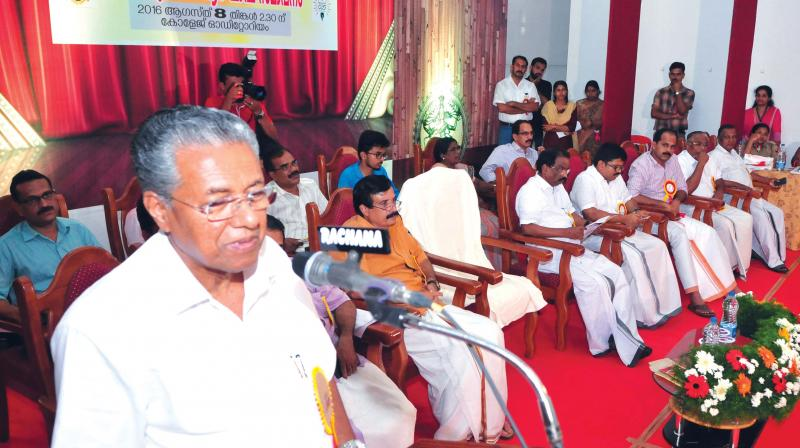 Chief Minister Pinarayi Vijayan addresses the  gathering during the  valedictory ceremony of Government Brennen College's 125 year celebrations in Thalaserry on Monday.