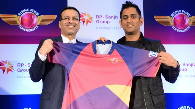 Rising Pune Supergiants – the new team in the IPL – unveiled the team's official jersey in New Delhi on Monday in the presence of skipper Mahendra Singh Dhoni (right) and owner Sanjiv Goenka. (Photo: DC)