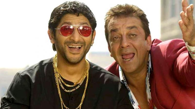 Sanjay Dutt as Munna Bhai with Arshad Warsi as Circuit in Munna Bhai film.