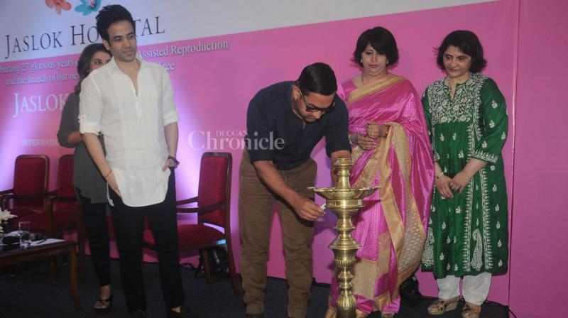 Aamir Khan, Farah Khan and Tusshar Kapoor inaugurate a fertility clinic in Mumbai on Monday afternoon.