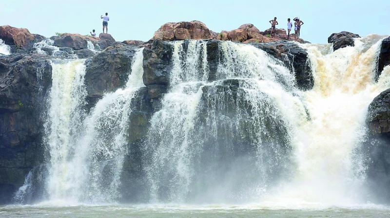 Water cascades down Bogatha waterfall, also called Telangana's 'Niagara', at Cheekupally, Khammam district, 270 km from Hyderabad. The waterfall is said to be the second highest in the state. The new bridge at Eturnagaram on NH 202 has made reaching the place easier, but there are virtually no amenities for tourists. (Photo: GANDHI)