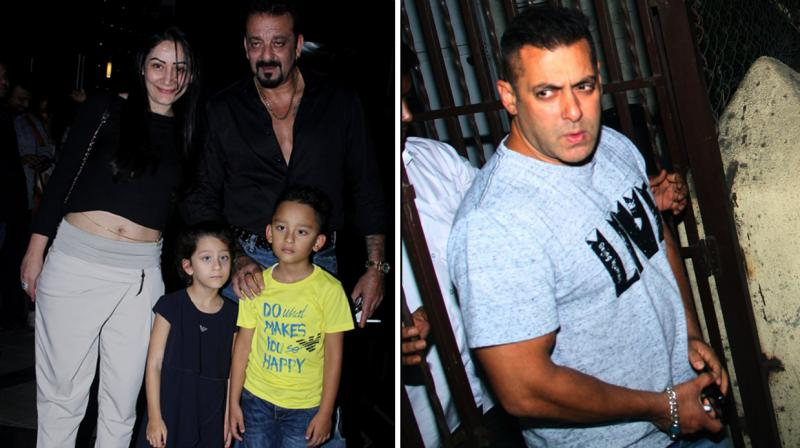Sanjay Dutt, who is gearing up for his big Bollywood comeback, stepped out for dinner with his family last night. On the other hand, Salman Khan who recently wrapped up shooting for 'Sultan' was spotted at a recording studio. Photo: Viral Bhayani