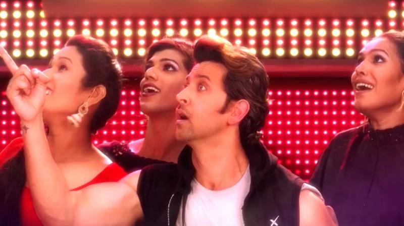 A still from 6 Pack band's new single 'Ae Raju' featuring Hrithik Roshan.