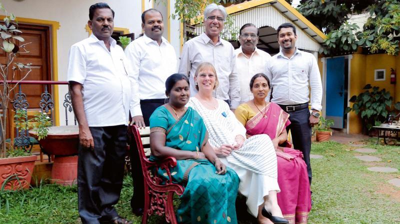 Benjamine Oberoi and Selvi with (from left) Narayanan, Raja, James, Govindraj and Kiran.