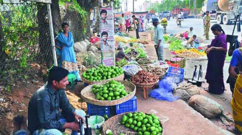 The traffic police books the vendors but the GHMC has not taken any action. (Representational image)