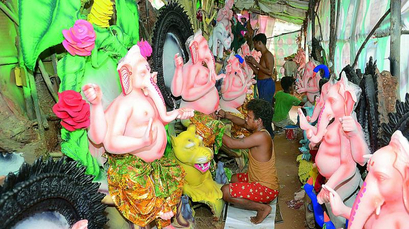 Devotees may land in trouble if they burst firecrackers or collect funds forcibly for religious functions during Ganesh Chaturthi celebrations between September 2 and September 12 in Hyderabad. (Representational Image)