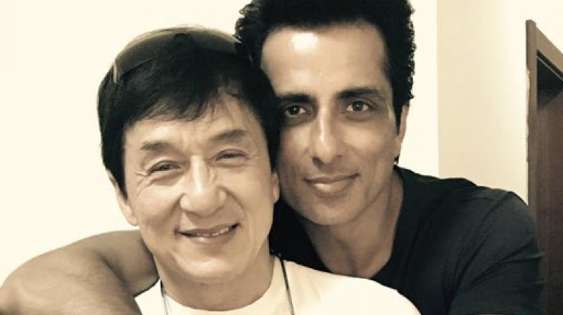 Sonu Sood and Jackie Chan on the sets of 'Kung Fu Yoga'.
