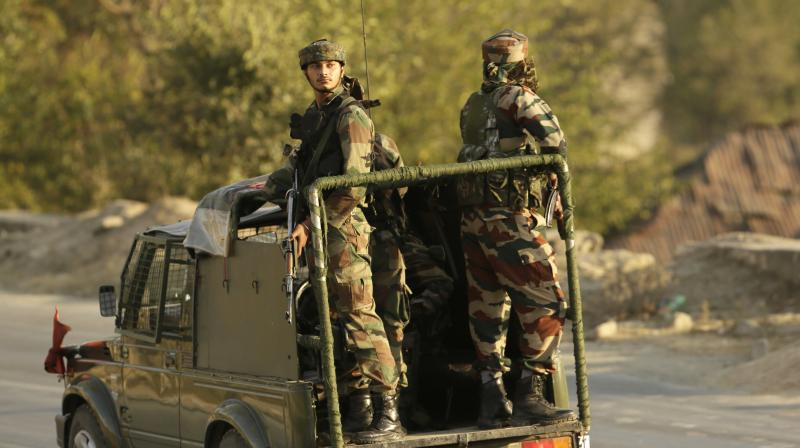 Indian Army soldiers on guard in Srinagar. (Photo: AP)