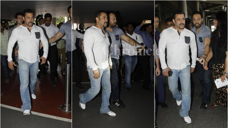 Just few days back Salman Khan flew to Dubai where he joined his brothers Sohail, Arbaaz, Nawazuddin to promote their upcoming film 'Freaky Ali'. (Photo: Viral Bhayani)
