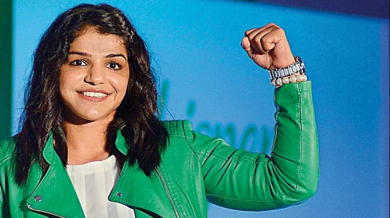 Sakshi Malik at an event in Noida  on Tuesday.