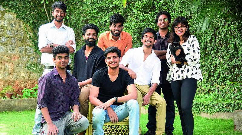 (Left to Right) Suprateek Korukonda (sitting), Srikar Reddy (standing), Akshay Mittal, Jaidev Reddy (centre), Nishant Sura, Dharma Teja, Pradeep Ning and Sakshi.