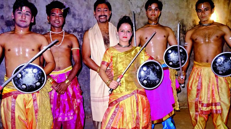 Artistes from the Gurukul Chhau Dance Sangam